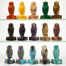 DEGENHART GLASS OWL FIGURES, LOT OF 15