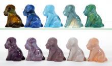 DEGENHART GLASS DOG / POOCH FIGURES, LOT OF TEN