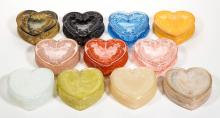 DEGENHART GLASS HEART JEWEL BOXES, LOT OF 11