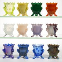 DEGENHART GLASS FORGET-ME-NOT TOOTHPICK HOLDERS, LOT OF 12