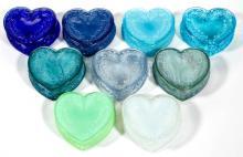 DEGENHART GLASS HEART JEWEL BOXES, LOT OF NINE