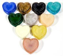 DEGENHART GLASS HEART JEWEL BOXES, LOT OF TEN