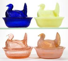DEGENHART GLASS COVERED TURKEY DISHES, LOT OF FOUR