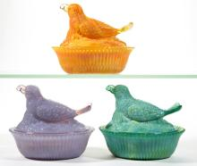 DEGENHART GLASS BIRD WITH BERRY COVERED DISHES, LOT OF THREE