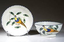 ENGLISH STAFFORDSHIRE POTTERY PEARLWARE PEAFOWL TABLE ARTICLES, LOT OF TWO