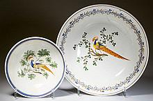 ENGLISH STAFFORDSHIRE POTTERY PEARLWARE PEAFOWL BOWLS, LOT OF TWO