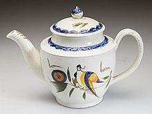 ENGLISH STAFFORDSHIRE POTTERY PEARLWARE PEAFOWL DIMINUTIVE TEAPOT AND COVER