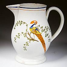 ENGLISH STAFFORDSHIRE POTTERY PEARLWARE PEAFOWL FOOTED JUG