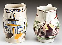 ENGLISH STAFFORDSHIRE POTTERY PEARLWARE DIMINUTIVE CIDER JUG AND PITCHER