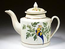 ENGLISH STAFFORDSHIRE POTTERY PEARLWARE PEAFOWL TEAPOT AND SIMILAR COVER