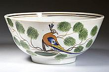 ENGLISH STAFFORDSHIRE POTTERY PEARLWARE PEAFOWL WASTEBOWL