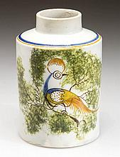ENGLISH STAFFORDSHIRE POTTERY PEARLWARE PEAFOWL TEA CANISTER