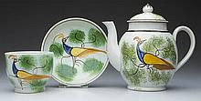 ENGLISH STAFFORDSHIRE POTTERY PEARLWARE PEAFOWL TOY TEAWARES, LOT OF THREE