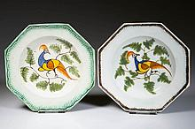 ENGLISH STAFFORDSHIRE POTTERY PEARLWARE PEAFOWL TODDY PLATES, LOT OF TWO