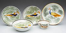 ENGLISH STAFFORDSHIRE POTTERY PEARLWARE PEAFOWL TOY TEA BOWL AND SAUCERS, LOT OF FIVE