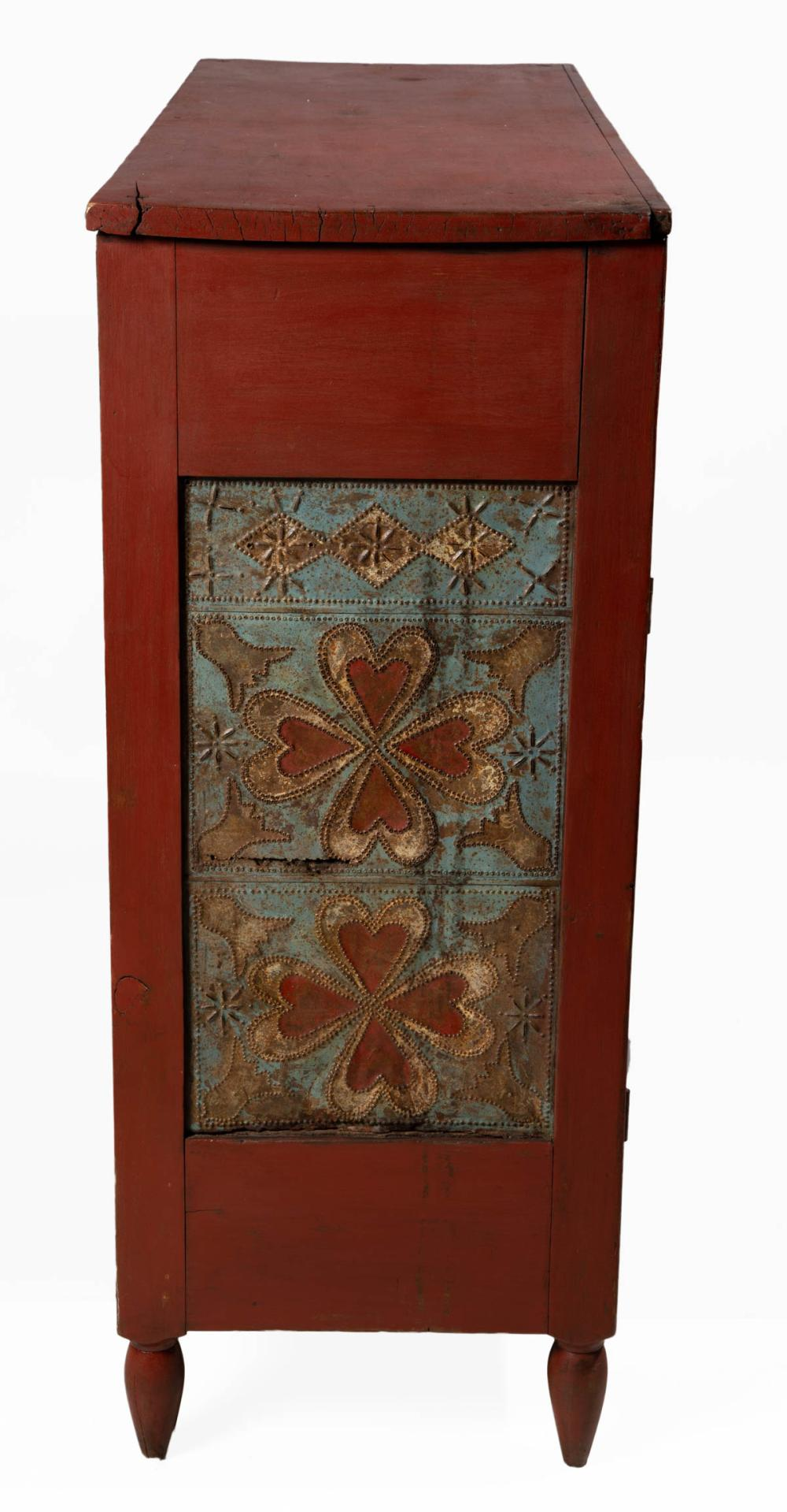 SOUTHERN PAINT-DECORATED WALNUT AND POPLAR PUNCHED-TIN-PANEL