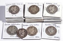 UNITED STATES SILVER BARBER HALF-DOLLAR COINS, LOT OF 26