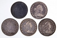 UNITED STATES SILVER FLOWING HAIR AND DRAPED BUST HALF DOLLAR COINS, LOT OF FIVE