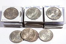 UNITED STATES SILVER PEACE DOLLAR COINS, LOT OF 31
