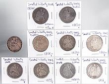 UNITED STATES SILVER SEATED LIBERTY HALF-DOLLAR COINS, LOT OF 10