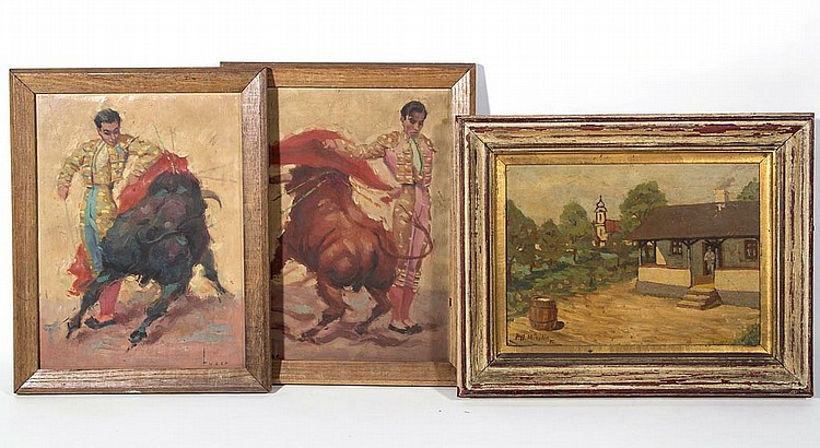 ASSORTED EUROPEAN PAINTINGS, LOT OF THREE
