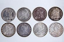 UNITED STATES SILVER CAPPED BUST HALF DOLLAR COINS, LOT OF EIGHT
