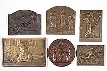 ASSORTED HISTORICAL BRONZE MEDALLIONS, LOT OF SIX