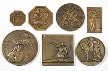 ASSORTED HISTORICAL BRONZE MEDALLIONS, LOT OF SEVEN