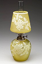 EXTREMELY RARE CAMEO FLORAL AND LEAF PATTERN ART GLASS MINIATURE LAMP
