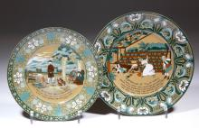 BUFFALO POTTERY DELDARE EMERALD DR. SYNTAX PLATES, LOT OF TWO