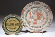 BUFFALO POTTERY ADVERTISING AND MANUFACTURING DELDARE PLATES, LOT OF TWO