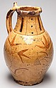 LARGE BRITISH REDWARE DATED PUZZLE JUG