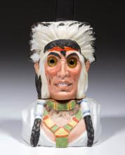 BISQUE NATIVE AMERICAN CHIEF / INDIAN - SMALL FIGURAL MINIATURE LAMP