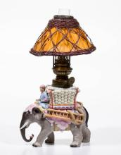 PORCELAIN STANDING ELEPHANT WITH RIDER FIGURAL MINIATURE LAMP
