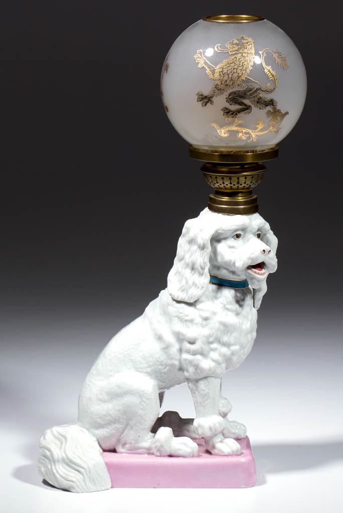 GERMAN ERNST BOHNE SOHNE PORCELAIN SEATED POODLE FIGURAL MINIATURE LAMP