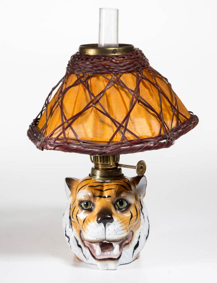 PORCELAIN TIGER HEAD FIGURAL MINIATURE LAMP