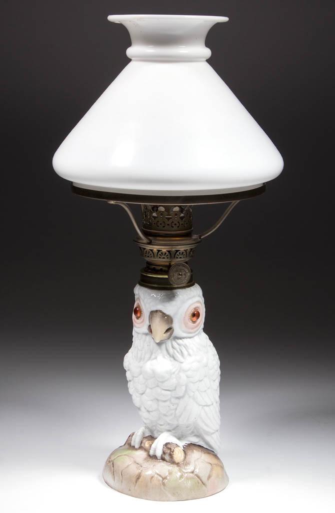 PORCELAIN PARROT FIGURAL MINIATURE LAMP