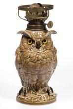 FRENCH PORCELAIN OWL FIGURAL MINIATURE LAMP
