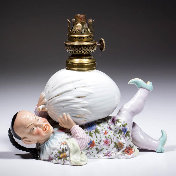 GERMAN ERNST BOHNE SOHNE PORCELAIN FIGURAL MINIATURE LAMP
