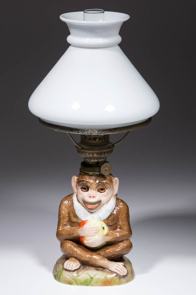 GERMAN PORCELAIN MONKEY FIGURAL MINIATURE LAMP