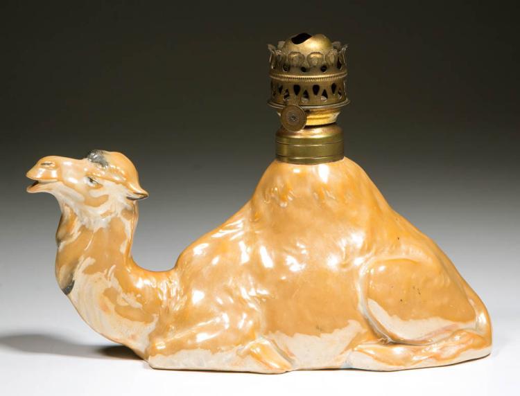GERMAN PORCELAIN RECLINING CAMEL FIGURAL MINIATURE LAMP