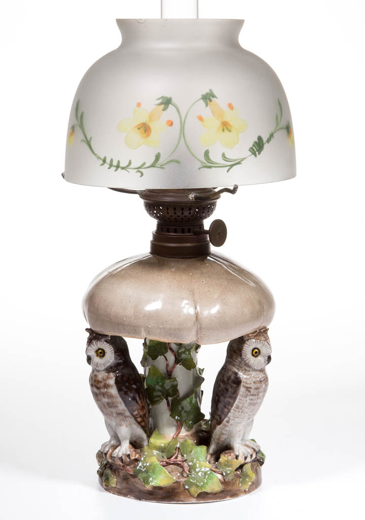 PORCELAIN OWL AND MUSHROOM FIGURAL MINIATURE LAMP