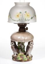 PORCELAIN OWL AND MUSHROOM FIGURAL MINIATURE LAMP