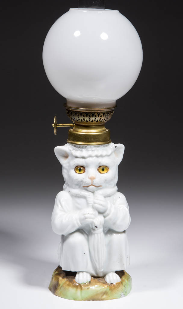 PORCELAIN SITTING CAT FIGURAL MINIATURE LAMP