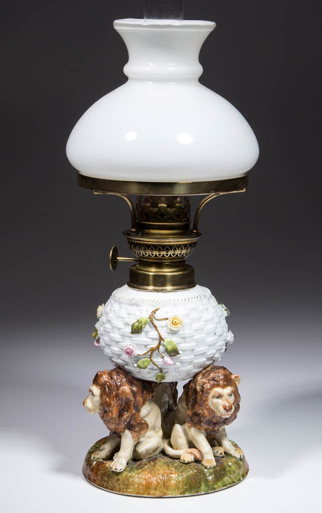 GERMAN PORCELAIN BASKET AND LIONS FIGURAL MINIATURE LAMP
