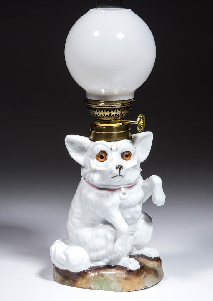 PORCELAIN DOG FIGURAL MINIATURE LAMP