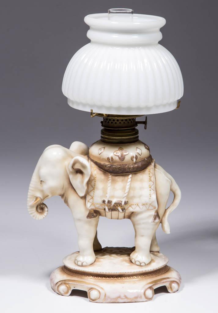 PORCELAIN ELEPHANT FIGURAL MINIATURE LAMP
