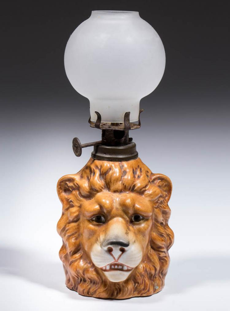 PORCELAIN LION-HEAD FIGURAL MINIATURE LAMP