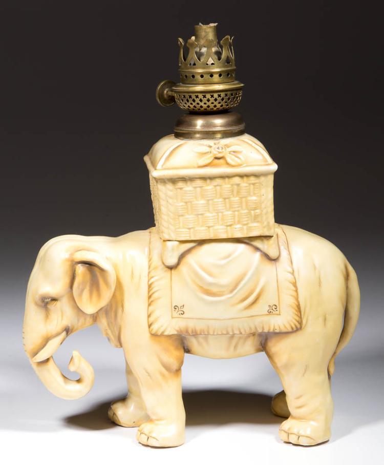 PORCELAIN STANDING ELEPHANT FIGURAL MINIATURE LAMP