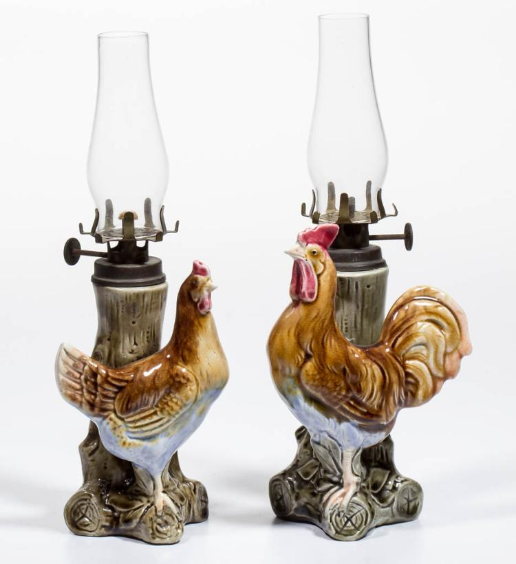 PORCELAIN MAJOLICA-TYPE CHICKENS FIGURAL MINIATURE LAMPS, SET OF TWO